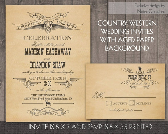 Western Wedding Invitation Wording: Country Western Wedding Invitation Vintage By NotedOccasions