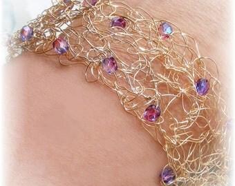 Goldtone Crochet Wire Cuff Bracelet - Lavendar AB (aurora borialis) Swarovski Crystal Bracelet - Ready To Ship