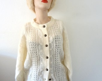 1980s Mohair Sweater - vintage ivory cable knit fuzzy oversized cardigan