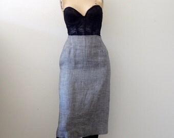 1980s Linen Pencil Skirt / geometric pattern wiggle skirt / designer vintage office attire