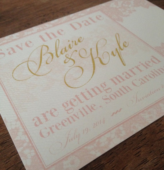 Pink amp gold lace wedding save the date by inktopiary on etsy