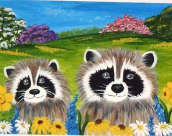 Raccoon Aceo Print of Original,sunflower,flowers,daisy,garden,critter,wildlife,coon