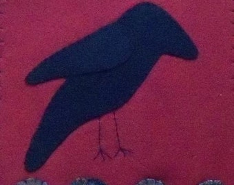 Felted Wool Penny Rug Crow Primitive