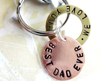Best Dad Love Gift - Personalized Hand Stamped Key Chain - Washers and Copper Disc