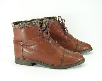 soft top ankle boots womens 6 b m brown booties leather shooties 1980s style fashion