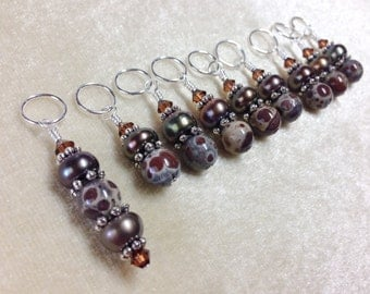 Cocolate Brown Knitting Stitch Markers, Gift for Knitters, Snag Free Beaded Stitch Marker Set, Knitting Supplies, Crochet Tools