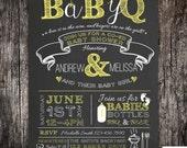 BabyQ chalkboard couples co-ed Baby Shower BBQ invitation - babyq - boy girl gender neutral - DIY
