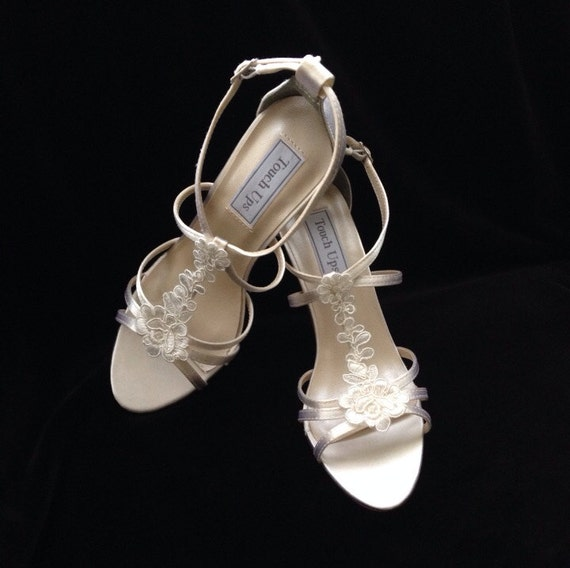 VANESSA Lace T-Strap Sandal Wedding Shoes By YvesBellaBrides