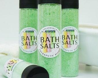 THERAPEUTIC BATH SALTS 12 oz - Eucalyptus, Spearmint, Peppermint, 6 Natural Oils, bath soak, sea salt, bath bomb