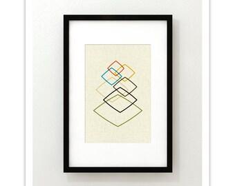 LIGHTLY - Giclee Print - Mid Century Modern Danish Modern Minimalist Cubist Modernist Eames Abstract