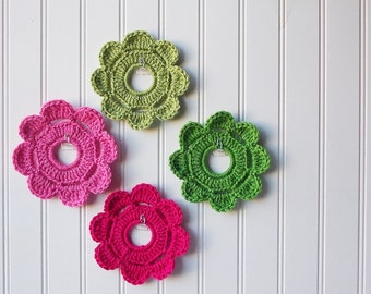 Decorative Crochet Mini Wreath Wall Hangings & Picture Frames - Lily Pulitzer Inspired