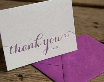 50 pack thank you letterpress cards, letterpress printed card. Eco friendly
