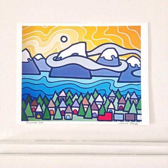 "Revelstoke, 8"" x 10"" Fine Art Print of Original Acrylic Landscape Painting - yellow-purple-blue --Buy Any 2 Prints & Get a 3rd FREE--"