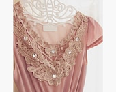 Medieval Downton Abbey Dusty Pink Blush Spring Elven Great Gatsby Medieval Plum Mauve 1920s MoriGirl Jane Austen Lace Marie Antoinette Dress