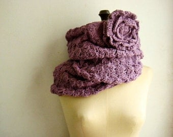 PATTERN Crochet Cowl, Infinity Scarf, Circle Scarf Crochet Pattern, Crochet Flower Pattern, 240