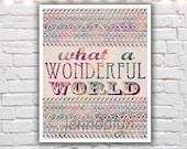 Wonderful World - fine art print, aztec pattern, bohemian art, typographic print,  inspirational word art, giclee print, boho chic decor