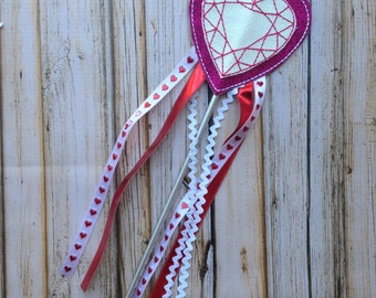 Red and White Glitter Heart Wand