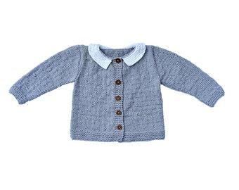 Baby Toddler Girl / Boy sweater / jacket knitted cardigan grey wool, white Peter Pan collar winter warm knitting, 6-9-12-18-24 months, 2T 3T