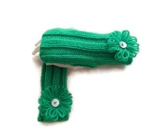 Womens Fingerless Gloves, knit fingerless gloves, Hand knit Mittens, Green Gloves,