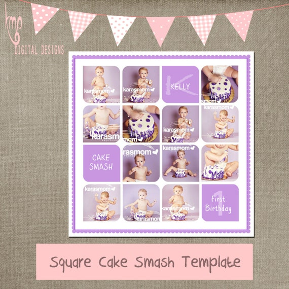 items similar to cake smash purple template cake smash storyboard template 20x20 collage for cs. Black Bedroom Furniture Sets. Home Design Ideas