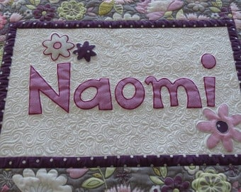 Personalized Quilted Custom Name Wall Hanging Heavily Quilted