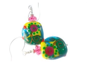 Glass Bead Earrings, Yellow Lampwork Earrings, Blue Green Beadwork Earrings, Colorful Abstract Earrings, Lampwork Glass Bead Jewelry