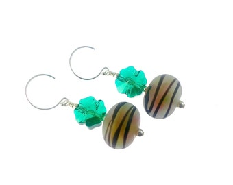 Lampwork Earrings, Glass Bead Earrings, Mod Dangle Earrings, Lampwork Jewelry, Beaded Earrings, Beadwork Earrings