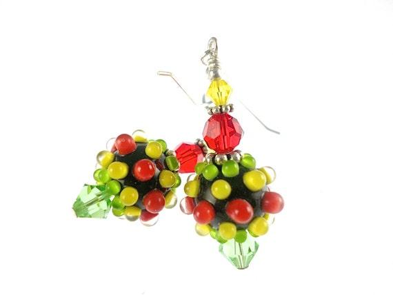 Colorful Dangle Earrings, Yellow Glass Bead Earrings, Green Red Lampwork Earrings, Black Lampwork Jewelry, Dangle Drop Earrings