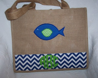 Personalized Large Burlap & Chevron Tote