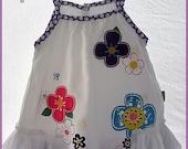 Baby girls white summer dress - Super soft dress - Toddler frilly ruffle dress - Purple-white polka dots - white floral dress