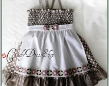 Beige and white polka dot apron dress for little girls (Available in size 12 m to 6Y) Beige Easter dress - Girls spring dress - beige dress