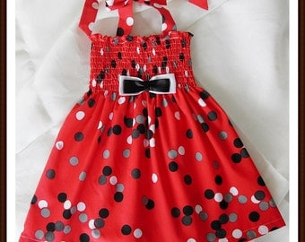 Red polka-dot dress for little girls - Spring dress - Summer dress - Red Easter dress - for 4-5 years old - Ready to ship