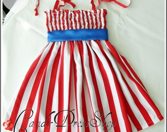 4th of July dress - Red-white striped dress - Patriotic Girl Dress - Memorial day dress - Red striped dress - (Sizes 6 months to 6 years)