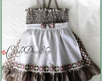 Beige and white polka-dot dress for little girls, Beige Easter dress, Girls spring dress, Girls beige and white apron dress