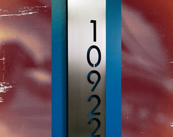 Custom Modern Floating House Numbers Vertical Offset in Stainless Steel