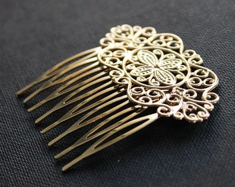 10Pcs Wholesale High Quality Gold plated Brass Filigree hair comb Setting Nickel Free Lead Free(COMBSS-18)