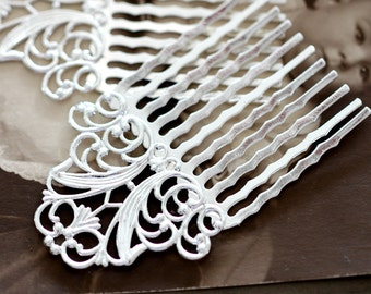 Silver  plated Brass Filigree hair comb Setting NICKEL FREE(COMBSS-20)