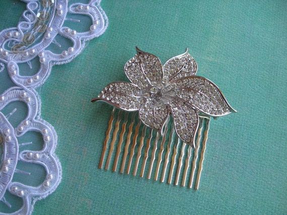 HOPE   Austrian Crystal Pave Bloom Hair Comb