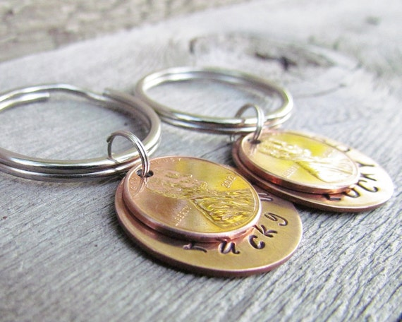 Set of 2 Lucky Us Key Chain Keychain His Hers Couple Penny Hand Stamped Charm Choose Your Own Penny Year from 1950 to 2018 Wedding Gift