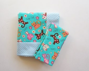 Double Flannel Receiving Blanket in Blue with Cats- DOUBLE THICK plus FREE burp cloth, Baby Blanket, Flannel Blanket, Infant Blanket