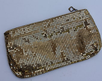 Vintage Gold Mesh Clutch Purse Handbag Coin Purse Wallet Duramesh