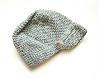 Grey Newsboy Hat