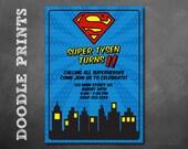 Super Man Invitation - Printable Super Hero Birthday Party Invitation - Customized Printable Invitation Boy's Party -Super Little Man Design