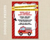 """Printable Fire Truck Birthday Party Invitation - Customized Printable Invitation Boy's Party """"Fire Alarm Fire Fighter Design"""" 4x6"""" or 5x7"""""""