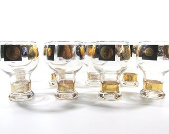 1950's Federal Glass Black & Gold 16 oz Beer Glassware