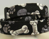 Dog Collar Bones and Paw Prints Black Yummy Fun Adjustable D Ring Choose Size Accessory Pet Pets Accessories Bone Paw Print HolidayCollars