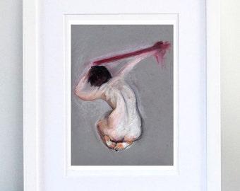 Print, Art Print, Wall Decor, Wall Art, Illustration Print,Grey pink oil pastel Nude Figure Drawing, No. 27 - print 8x11.5 inch (21x29.5 cm)