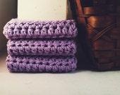 Set of 3: Premium Handmade Cotton Washcloths - Lavender