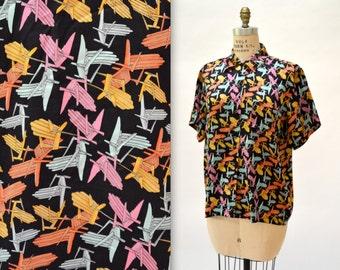 Vintage Nicole Miller Mens Silk Shirt Size Large// Vintage Summer Andorak Chair Beach Print Silk Shirt Nicole Miller