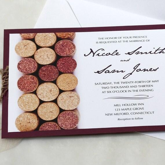 Cork Wedding Invitations: Wine Cork Wedding Invitation Vineyard By Willowglenstationery